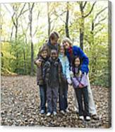 Parents And Children In A Wood Canvas Print
