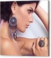Portrait Of A Beautiful Woman Wearing Jewellery Canvas Print