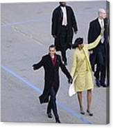 President And Michelle Obama Wave Canvas Print