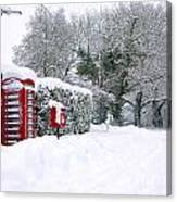 Red Phonebox In The Snow Canvas Print