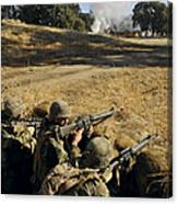 Seabees Defend Their Camp Canvas Print