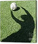 Shadow Playing Football Canvas Print