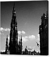 Sir Walter Scott Monument Princes Street Edinburgh Scotland Uk United Kingdom Canvas Print