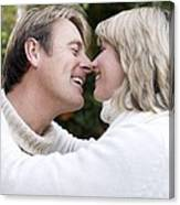 Smiling Couple Embracing Canvas Print