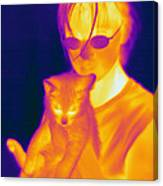 Thermogram Of A Girl And Cat Canvas Print
