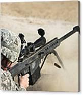 U.s. Army Soldier Fires A Barrett M82a1 Canvas Print