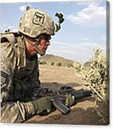 U.s Army Specialist Provides Security Canvas Print