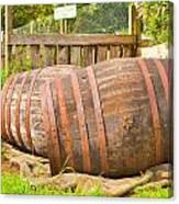 Wooden Barrels Canvas Print