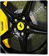 2012 Ferrari 458 Spider Brake Pad Yellow Canvas Print