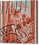 25 Lire Italian Stamp - Milano Cancelled Canvas Print