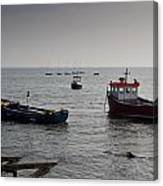 Boats Moored Off Of Leigh Essex Canvas Print