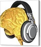 Brain With Headphones, Artwork Canvas Print