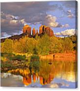 Cathedral Rock Reflected In Oak Creek Canvas Print