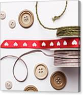 Close Up Of Ribbon, String And Buttons Canvas Print