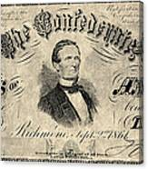 Confederate Banknote Canvas Print