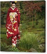 Kimono-clad Geisha In A Park Canvas Print