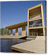 Lakeside Building And Dock Canvas Print