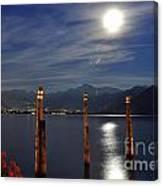Moon Light Over An Alpine Lake Canvas Print