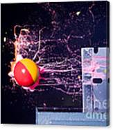 Paintball Shot At Razor Blade Canvas Print