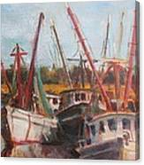 3 Shrimpers At Dock Canvas Print