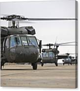 Uh-60 Black Hawks Taxis Canvas Print