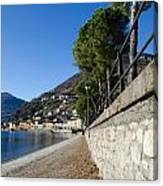 Village On The Lake Front Canvas Print