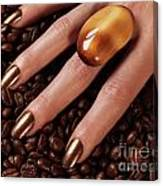 Woman Hands In Coffee Beans Canvas Print