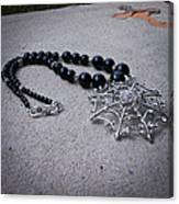 3596 Spiderweb Rhinestone Pendant Necklace Canvas Print