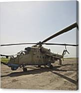 An Mi-35 Attack Helicopter At Kunduz Canvas Print