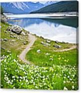 Mountain Lake In Jasper National Park Canvas Print