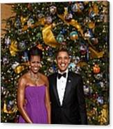 President And Michelle Obama Pose Canvas Print