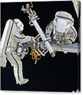 Russian Cosmonauts Working Canvas Print