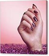 Woman Hand With Purple Nail Polish Canvas Print