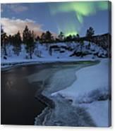Aurora Borealis Over Tennevik River Canvas Print