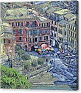 5 Terre Vernazza Landscape Canvas Print