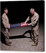 U.s. Marines Fold The American Flag Canvas Print
