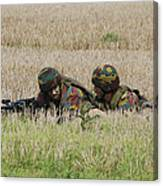 Belgian Paratroopers On Guard Canvas Print