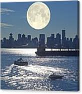 Full Moon Over Vancouver Canvas Print