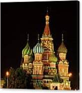 Red Square In Moscow At Night Canvas Print