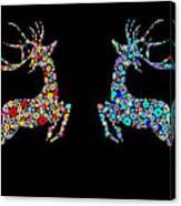 Reindeer Design By Snowflakes Canvas Print