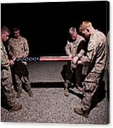 U.s. Marines Fold The American Flag Canvas Print