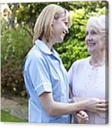 Nurse On A Home Visit Canvas Print