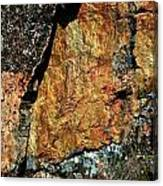 Painted Rocks At Hossa With Stone Age Paintings Canvas Print