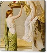 A Basket Of Roses - Grecian Girls Canvas Print