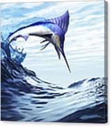 A Beautiful Blue Marlin Bursts Canvas Print