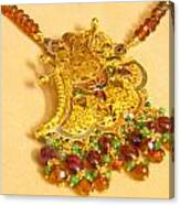 A Beautiful Intricately Carved Gold Pendant Hanging From A Semi-precious Stone Chain Canvas Print