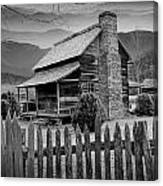 A Black And White Photograph Of An Appalachian Mountain Cabin Canvas Print