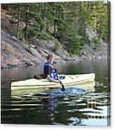 A Boy Kayaking Canvas Print