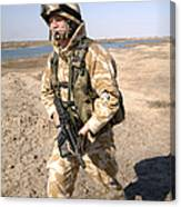 A British Army Soldier On Patrol Canvas Print
