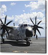 A C-2a Greyhound Taxis On The Flight Canvas Print